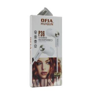 Handsfree slušalice OFIA univerzalne 3.5mm P36 crno-sive