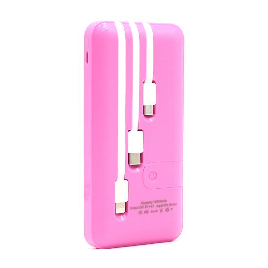 Power bank MS sa 3 kabla (microUSB. Iphone lightning i Type C) 10000 mAh roze